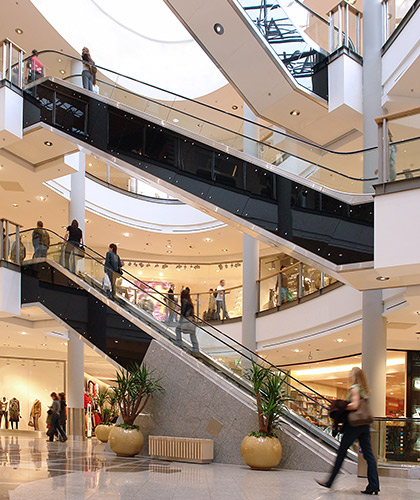 shoppers inside a shopping centre